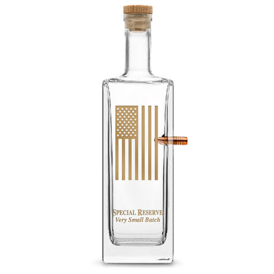 Gold Etch Premium .50 Cal BMG Bullet Bottle, Liberty Whiskey Decanter with Cork Stopper, American Flag, 750mL by Integrity Bottles
