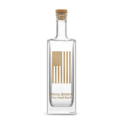 Gold Etch Premium Liberty Whiskey Decanter with Cork Stopper, American Flag, 750mL by Integrity Bottles