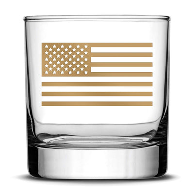 Gold Etch Premium Whiskey Glass, American Flag, 11oz Integrity Bottles
