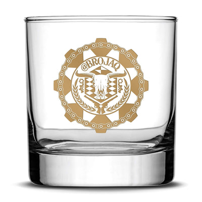 Gold Etch Premium Whiskey Glass, Hand-Etched Liquor and Rocks Tumbler, Old Fashioned Brojaq Sprocket, Made in USA, 11oz Integrity Bottles