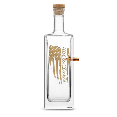 '+ Gold Metallic PREMIUM .50 CAL BMG BULLET BOTTLE, LIBERTY WHISKEY DECANTER CORK STOPPER, WE THE PEOPLE FLAG, 750ML by Integrity Bottles