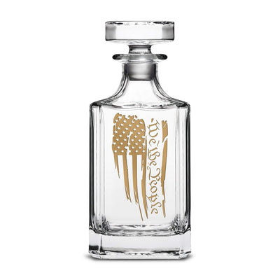 '+Gold Metallic We The People Flag Refillable Diamond Decanter, 750mL by Integrity Bottles