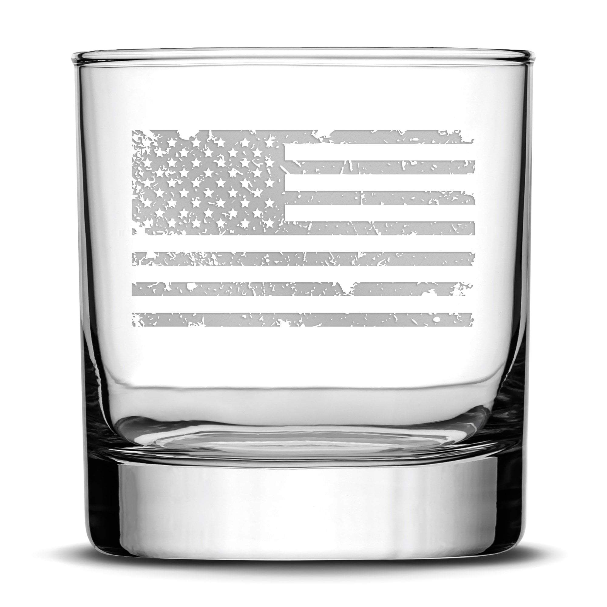 Integrity Bottles Premium Distressed American Flag Whiskey Glass, Hand Etched 11oz Rocks Glass, Made in USA by Integrity Bottles