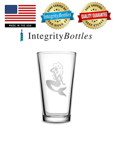 Pint Glass with Mermaid Design, Deep Etched by Integrity Bottles