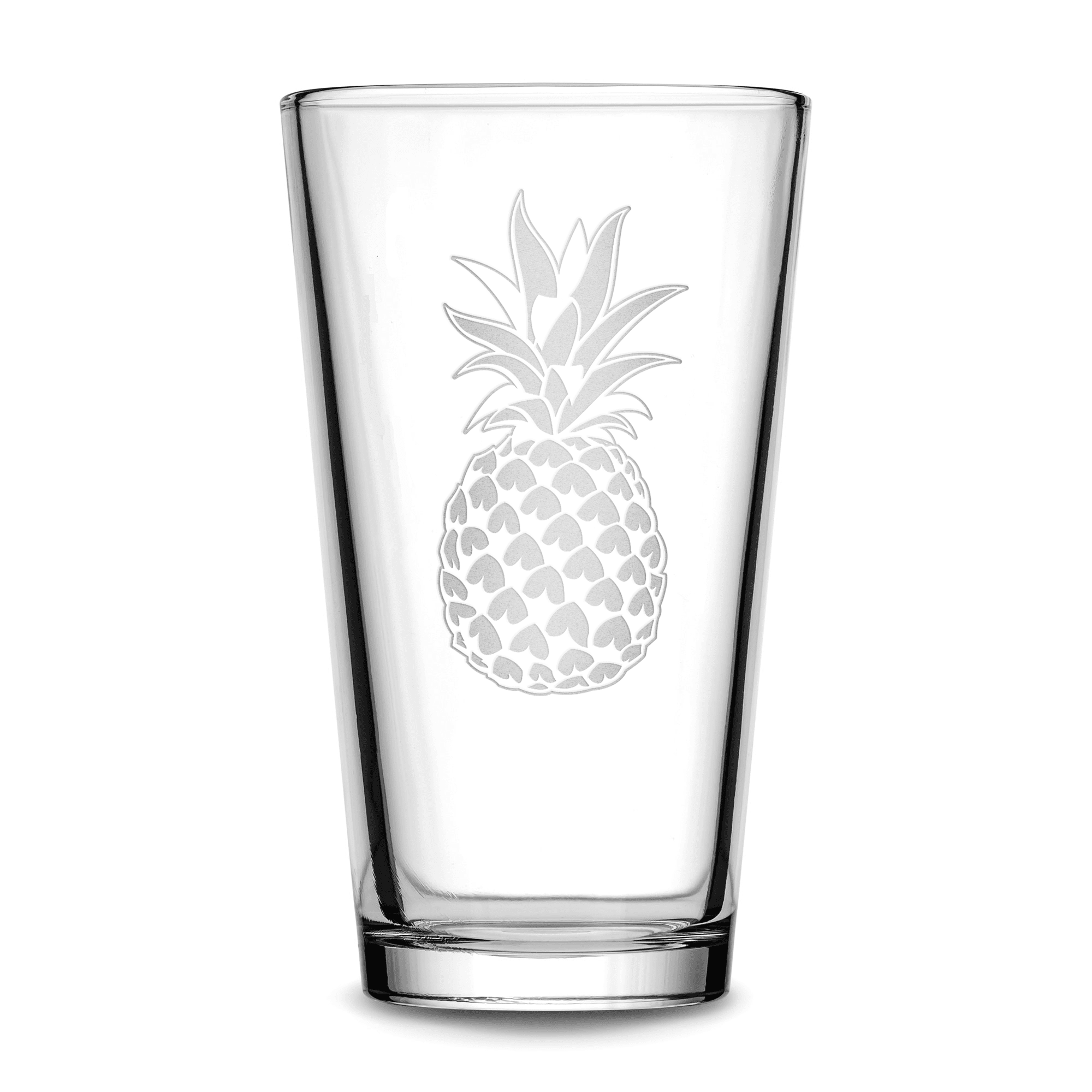Pint Glass with Pineapple Design, Deep Etched by Integrity Bottles