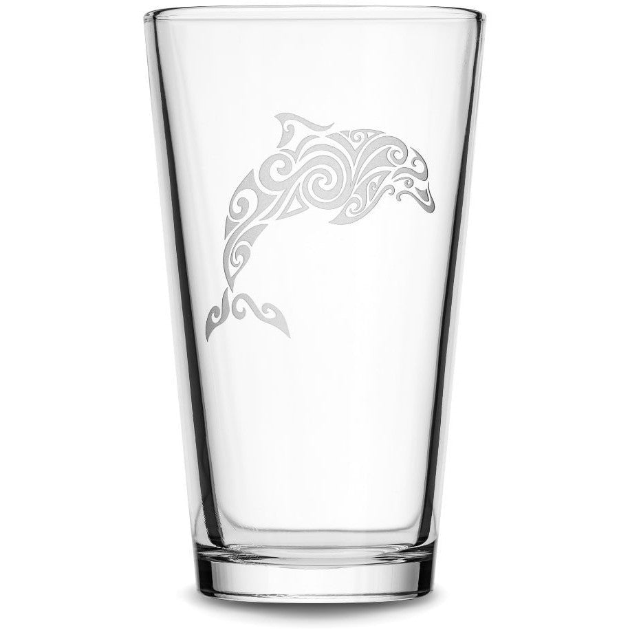 Pint Glass with Tribal Dolphin, Deep Etched by Integrity Bottles