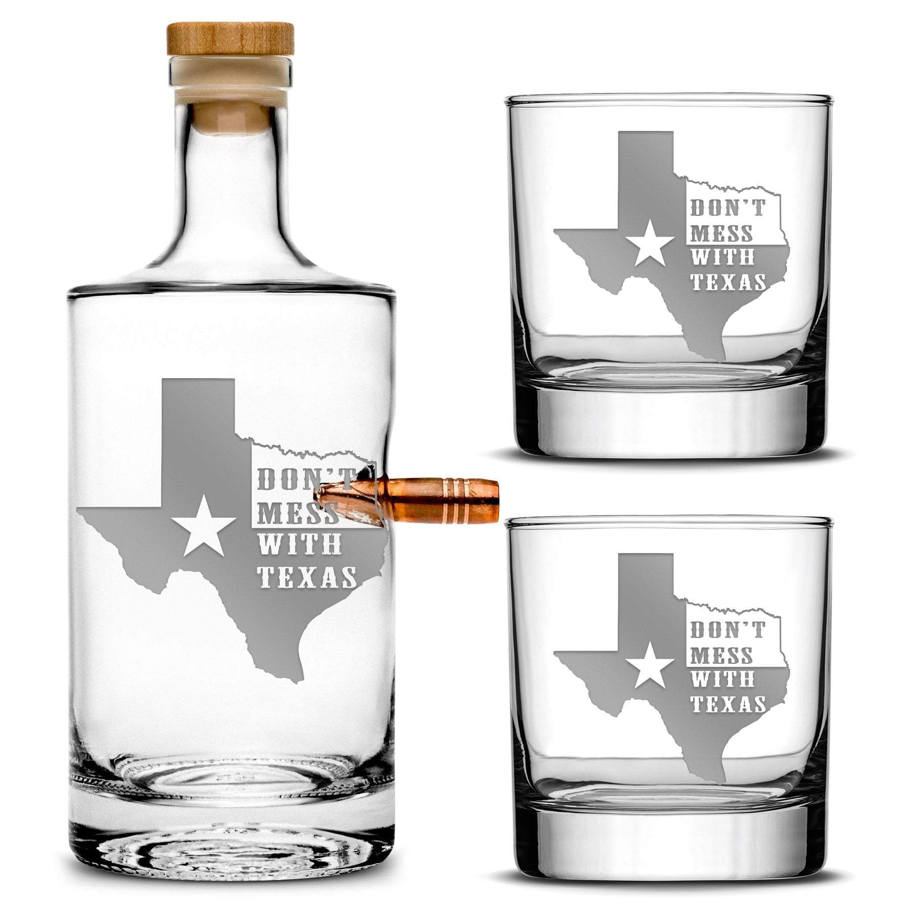 "Premium .50 Cal BMG Bullet Bottle Gift Set - Jersey Whiskey Decanter with Cork Stopper, ""Don't Mess With Texas"" - 750ml Integrity Bottles"