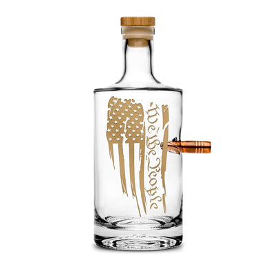 "Premium .50 Cal BMG Bullet Bottle - Jersey Whiskey Decanter with Cork Stopper, ""We The People"" - 750mL by Integrity Bottles"