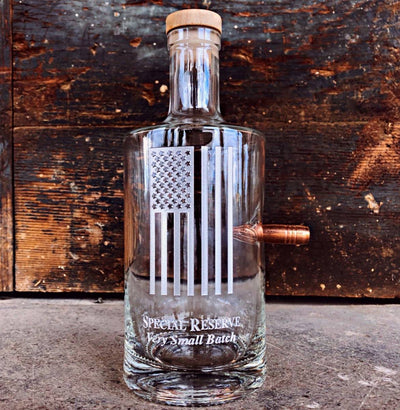 Premium .50 Cal Bullet Jersey Bottle, American Flag, 750mL Deep Etched Integrity Bottles