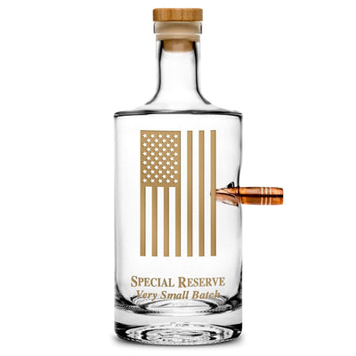 Premium .50 Cal Bullet Jersey Bottle, American Flag, 750mL Integrity Bottles