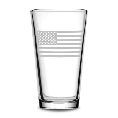 Premium American Flag Pint Glass Integrity Bottles