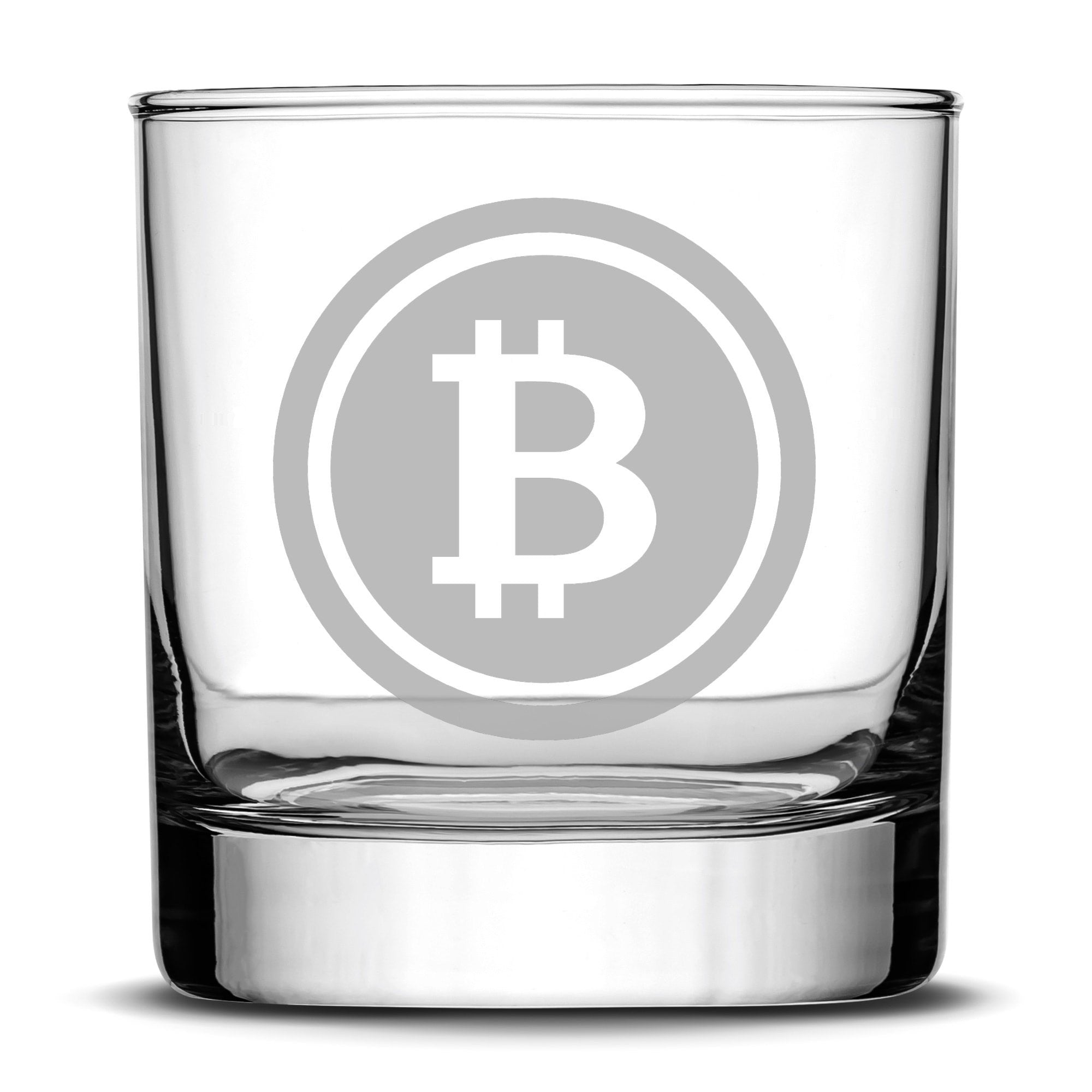 Premium Bitcoin Whiskey Glass, 10oz Deep Etched Rocks Glass, Made in USA by Integrity Bottles