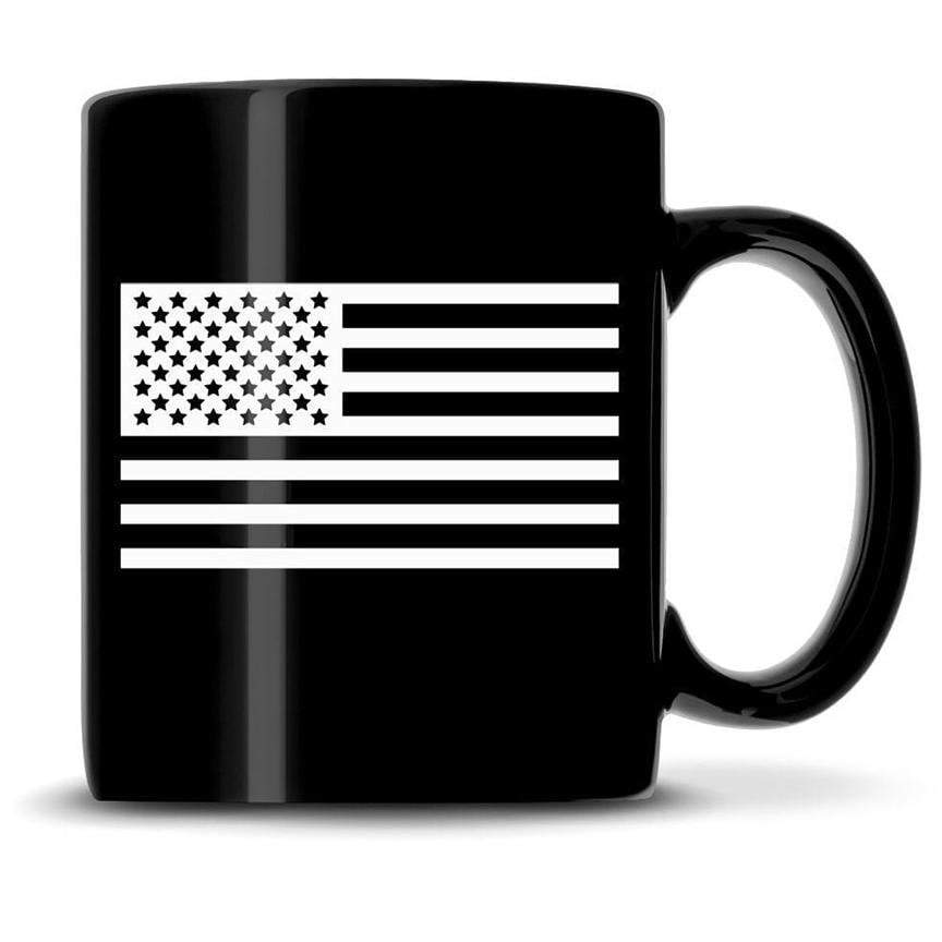 Premium Coffee Mug, American Flag, 12oz (Black) Integrity Bottles