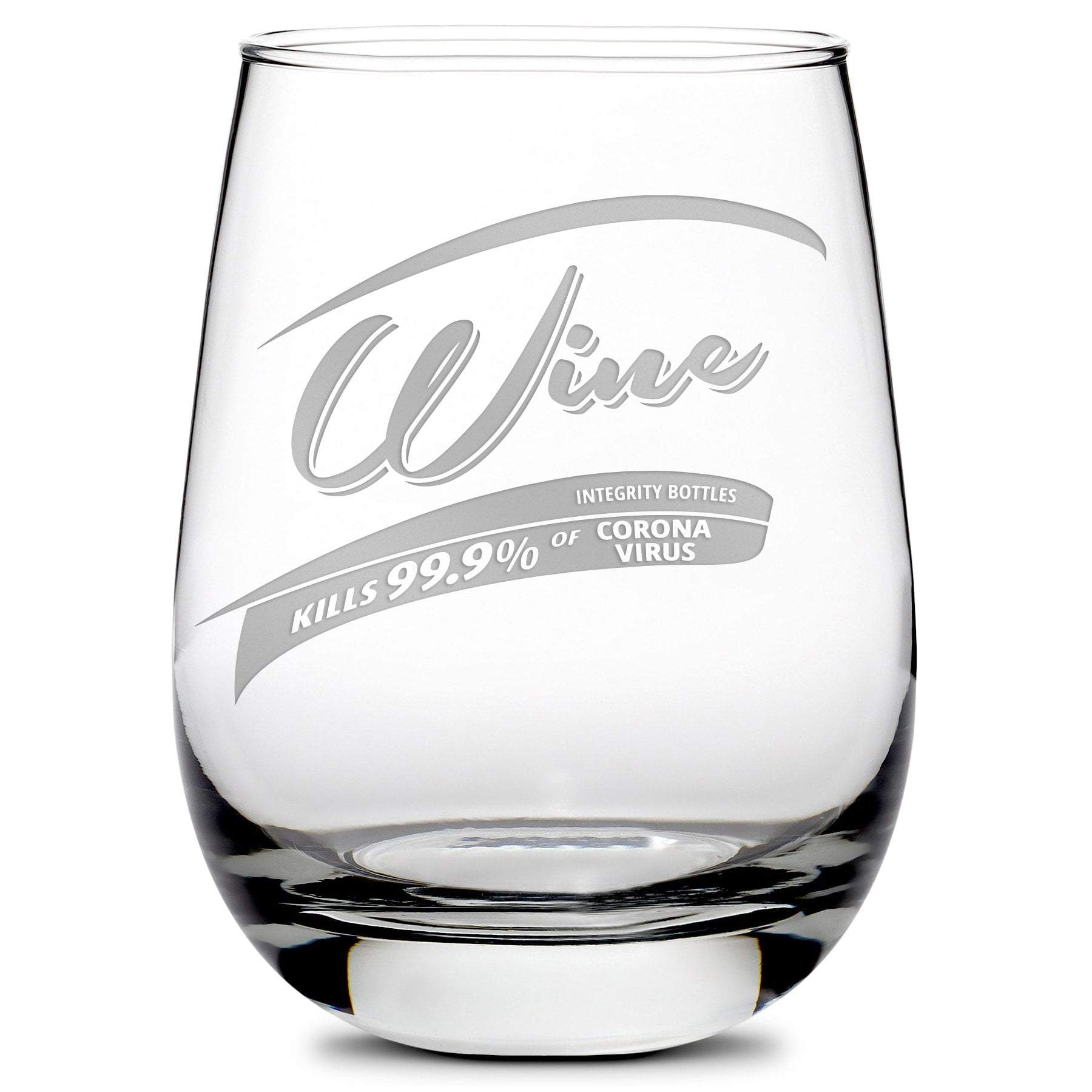 Premium Corona Virus Wine Glass - Hand-Etched COVID-19 Killer Drinking Glasses,  Made in USA, 11oz by Integrity Bottles
