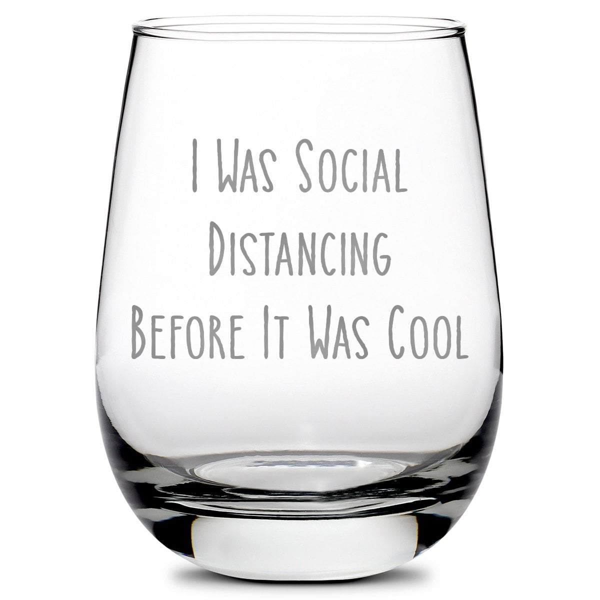 Premium Coronavirus Wine Glass - Hand-Etched Social Distancing Drinking Glasses,  Made in USA, 11oz by Integrity Bottles