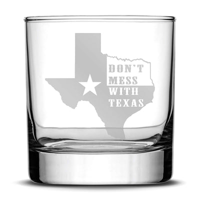 "Premium ""Don't Mess With Texas"" Whiskey Glass - Hand-Etched Liquor Rocks Tumbler - Old Fashioned Unique Gifts for Men, Made in USA - 11oz Integrity Bottles"