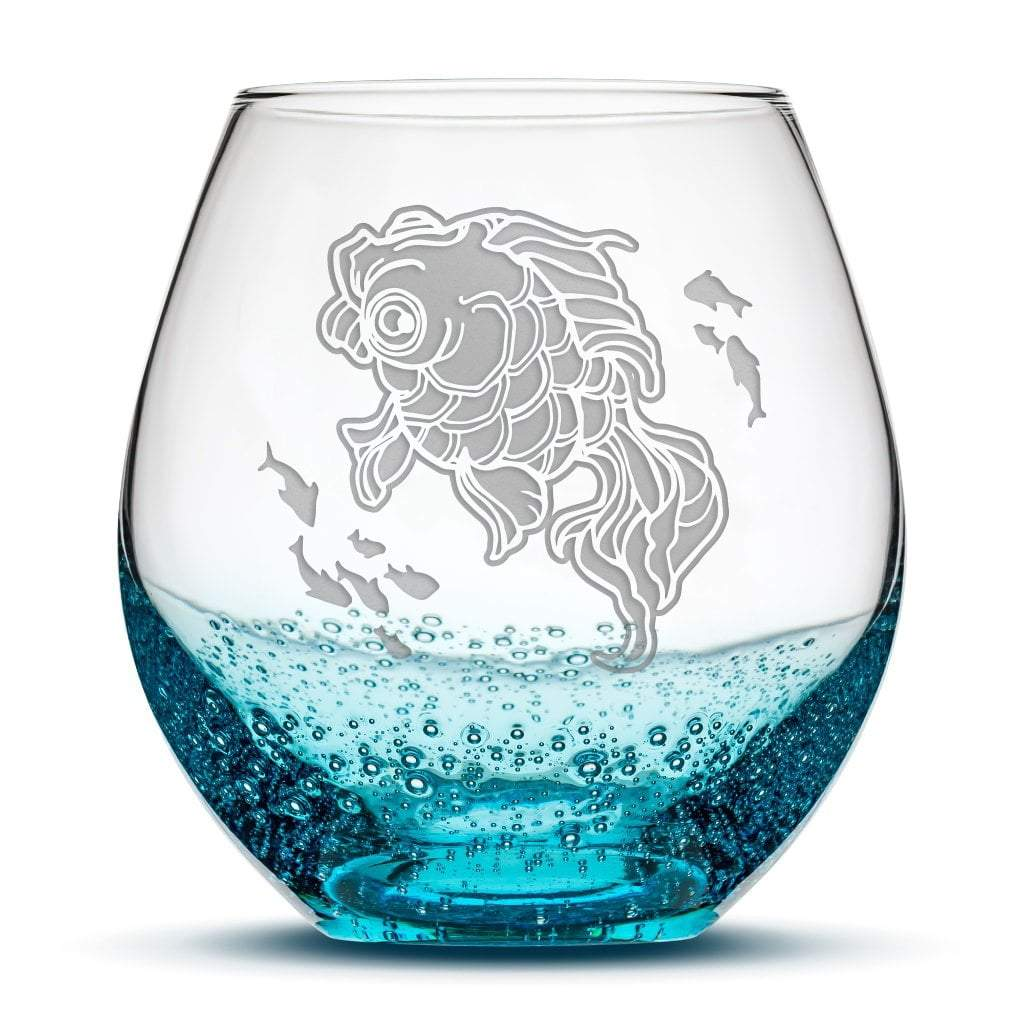 Premium, Fish Bowl, Bubble Wine Glass , Hand Etched Designs By Jess by Integrity Bottles