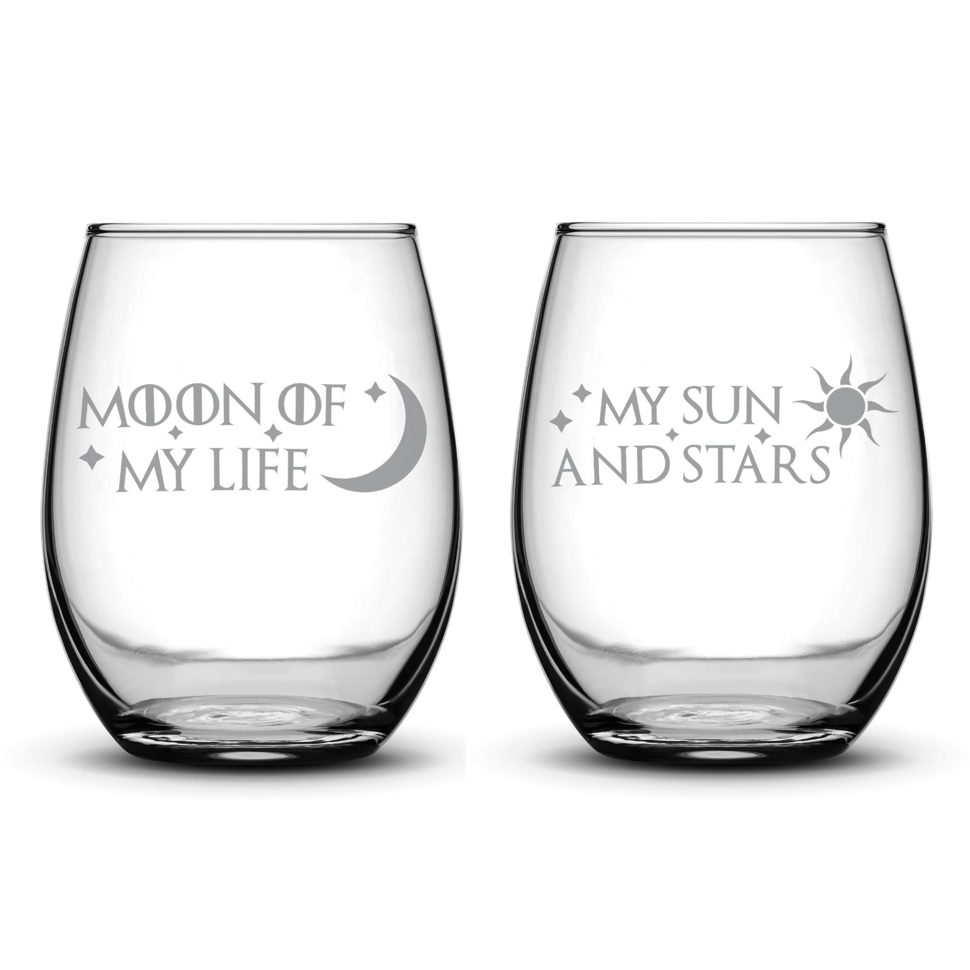 Premium Game of Thrones Wine Glasses, Set of 2, Moon of My Life, My Sun and Stars, Hand Etched 14.2oz Stemless Gifts, Made in USA by Integrity Bottles