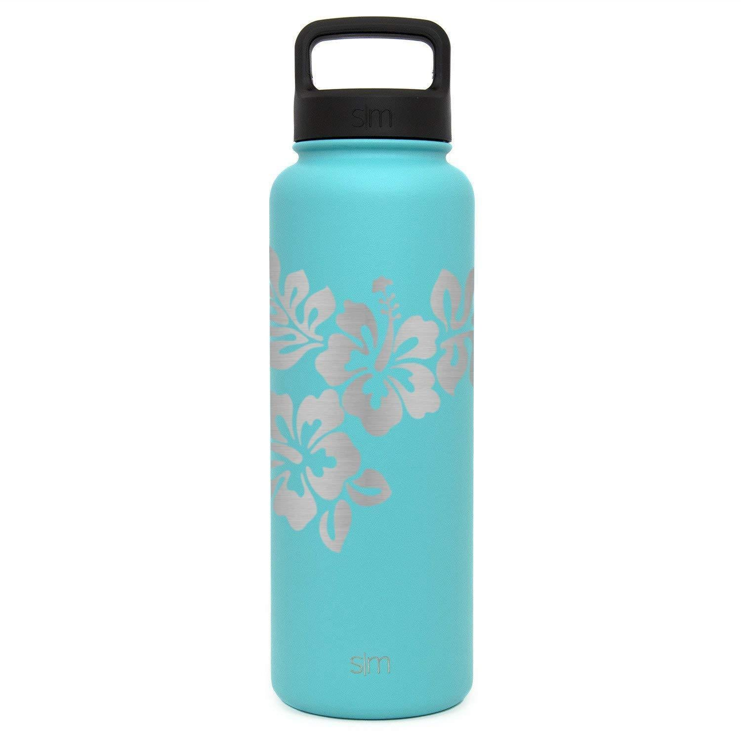 Premium Stainless Steel Water Bottle, Hibiscus Design, Extra Lid, 40oz (Caribbean Teal)