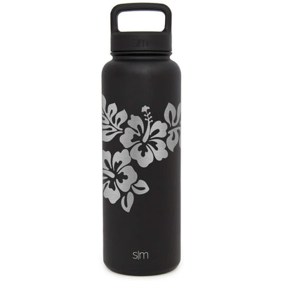 Premium Stainless Steel Water Bottle, Hibiscus Design, Extra Lid, 40oz (Midnight Black)