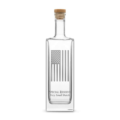 Premium Liberty Whiskey Decanter with Cork Stopper, American Flag, 750mL by Integrity Bottles