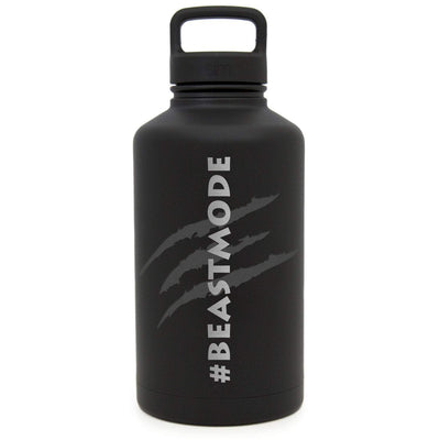 Premium Stainless Steel Growler, Beast Mode Design, Extra Lid, 64oz (Midnight Black) Integrity Bottles