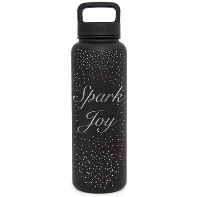 Premium Stainless Steel Water Bottle, Spark Joy Design, Extra Lid, 40oz (Midnight Black) Integrity Bottles