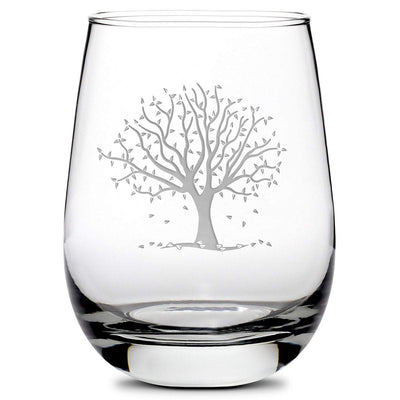 Premium Stemless Wine Glass, Fall Season, Hand Etched, Made in USA, 16oz by Integrity Bottles