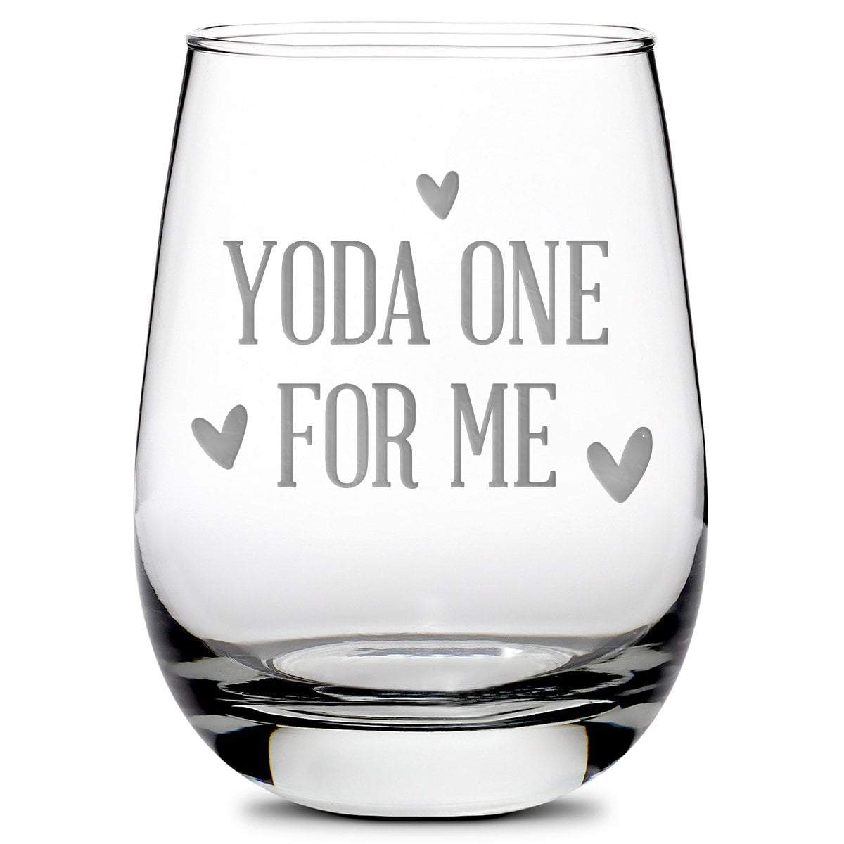 Premium Stemless Wine Glass, Mandalorian, Baby Yoda One For Me, 16oz by Integrity Bottles