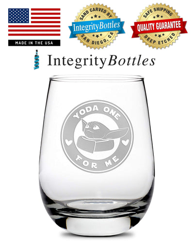 Premium Stemless Wine Glass, Mandalorian, Baby Yoda One For Me - Circle, 16oz by Integrity Bottles