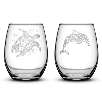 Premium Stemless Wine Glasses, Set of 2, Sea Turtle and Dolphin, Hand Etched 14.2oz Stemless Gifts, Made in USA by Integrity Bottles