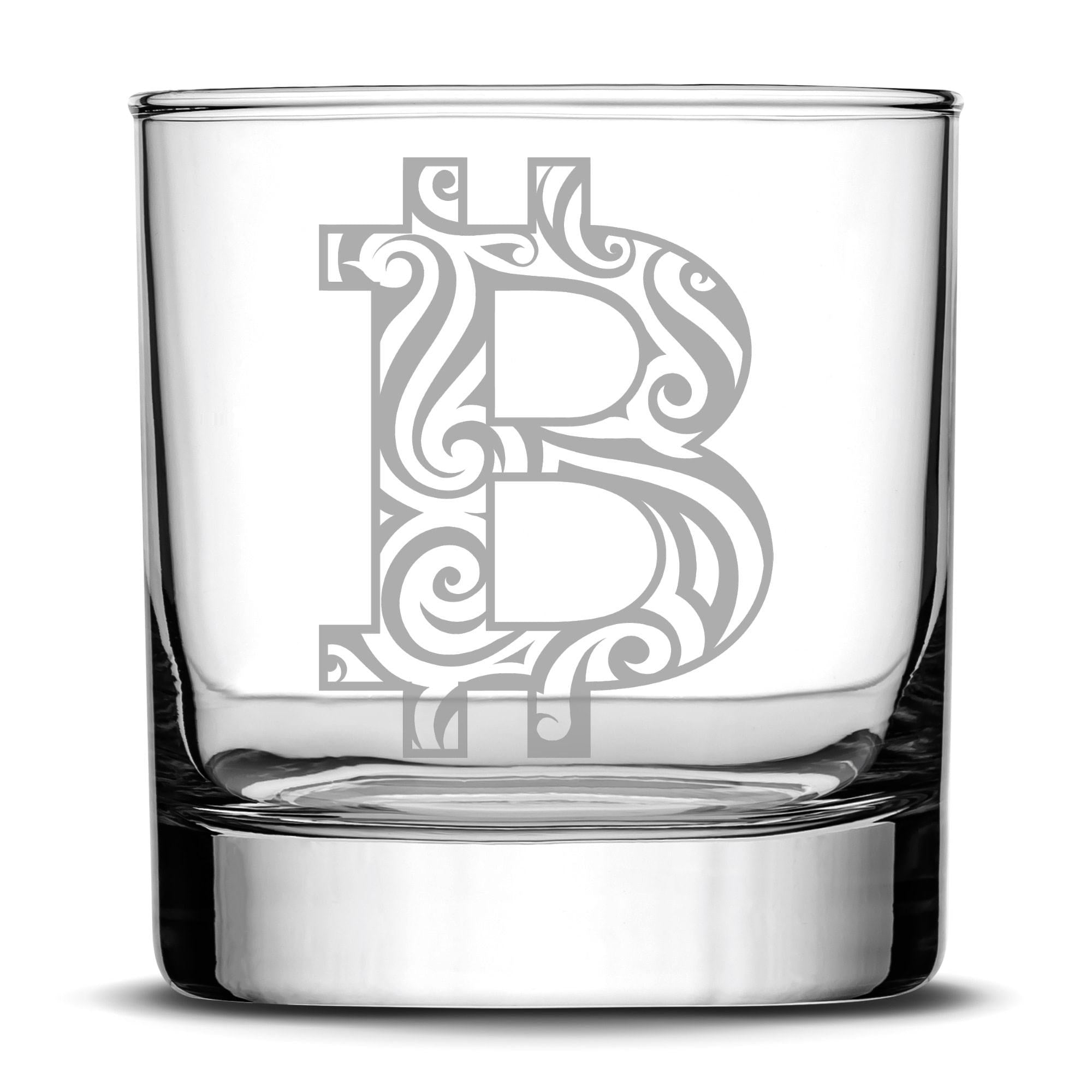Premium Tribal Bitcoin Whiskey Glass, 10oz Deep Etched Rocks Glass, Made in USA by Integrity Bottles
