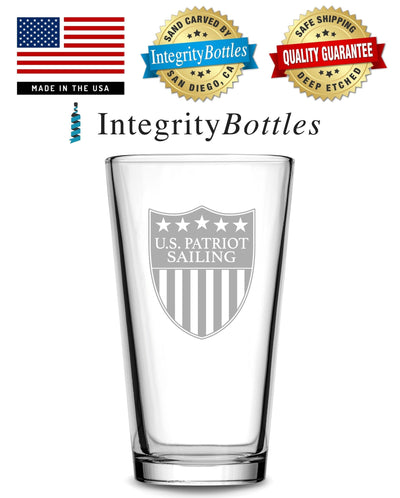 Premium US Patriot Sailing Pint Glass, 15.3oz Deep Etched Beer Glass, Made in USA by Integrity Bottles