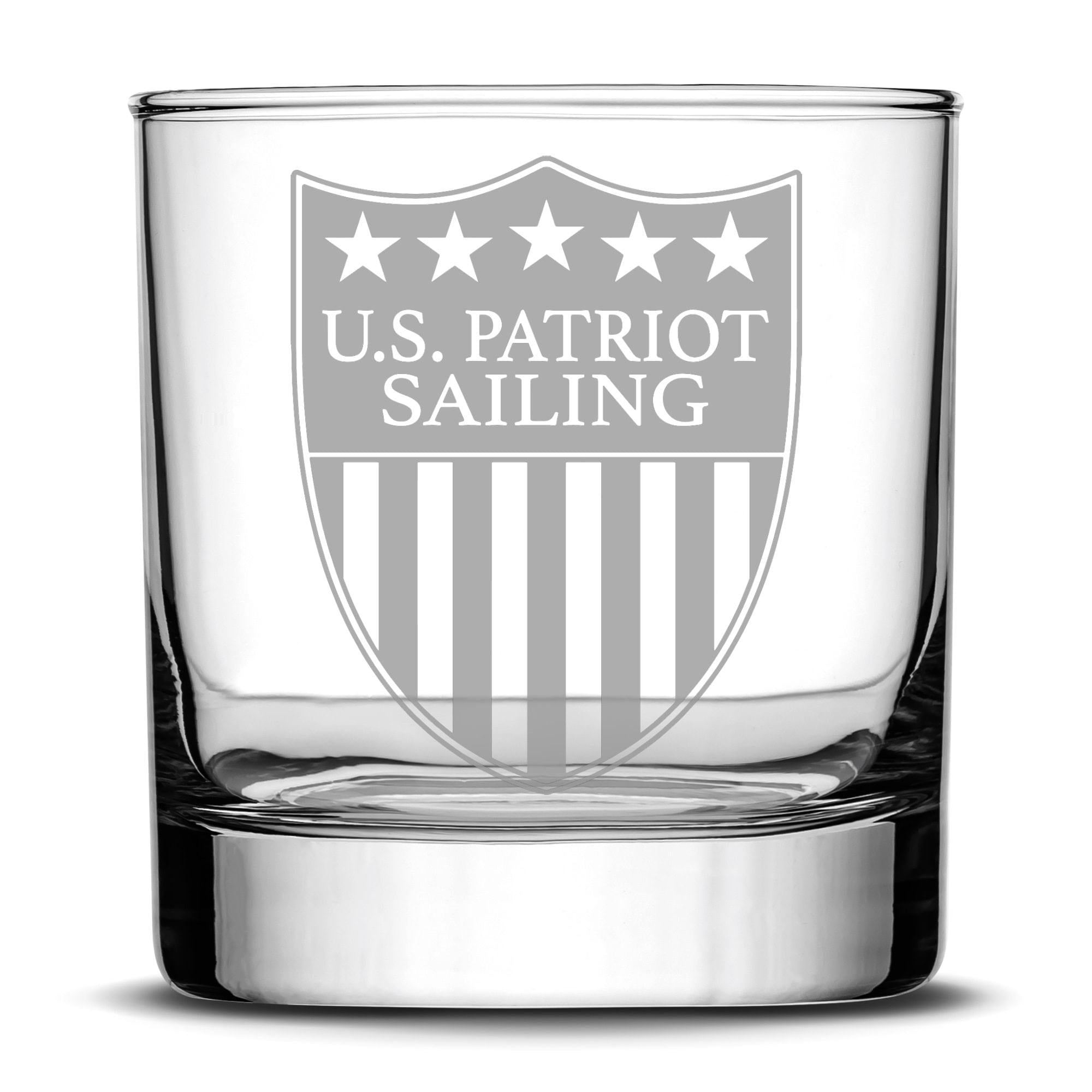 Premium US Patriot Sailing Whiskey Glass, 10oz Deep Etched Rocks Glass, Made in USA by Integrity Bottles
