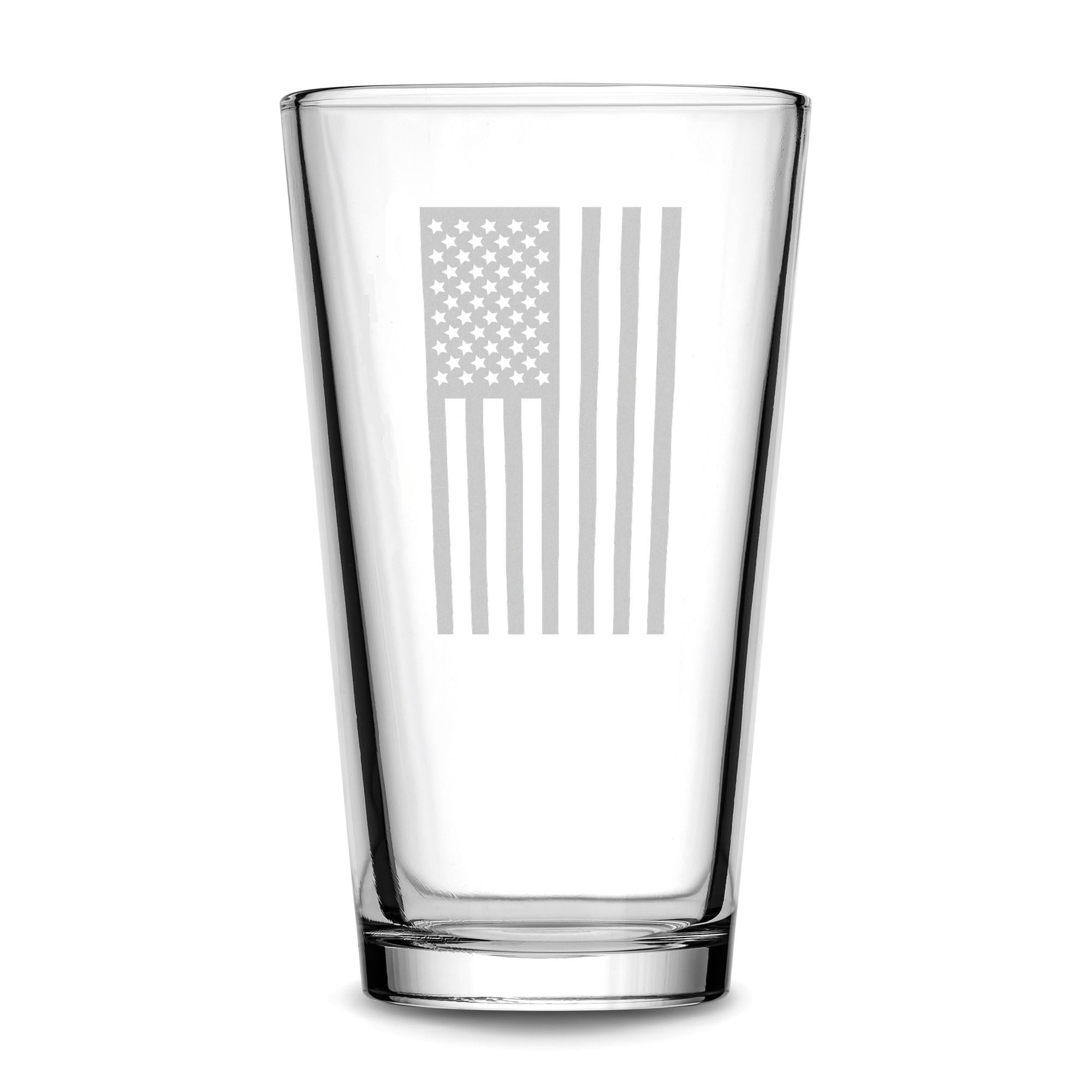 Premium Vertical American Flag Pint Glass Integrity Bottles