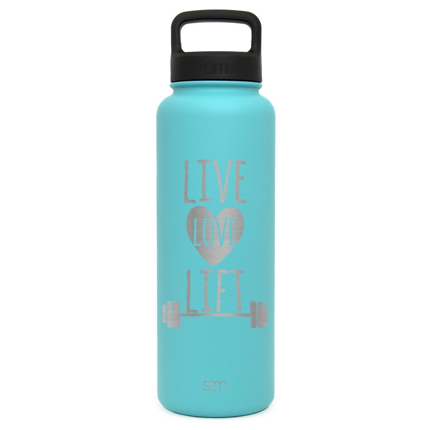 Premium Water Bottle, Live Love Lift Design, Extra Lid, Wide Mouth, Stainless Steel, Vacuum Insulated, Double Walled, Hot and Cold, 40 Ounce, Etched with Honor by Integrity Bottles (Caribbean Teal) by Integrity Bottles