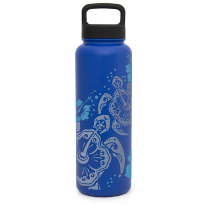Premium Water Bottle with Turtle Hibiscus Design, Extra Lid, Wide Mouth, Stainless Steel, Vacuum Insulated, Double Walled, Hot and Cold, 40 Ounce, Etched with Honor by Integrity Bottles (Twilight Blue) by Integrity Bottles