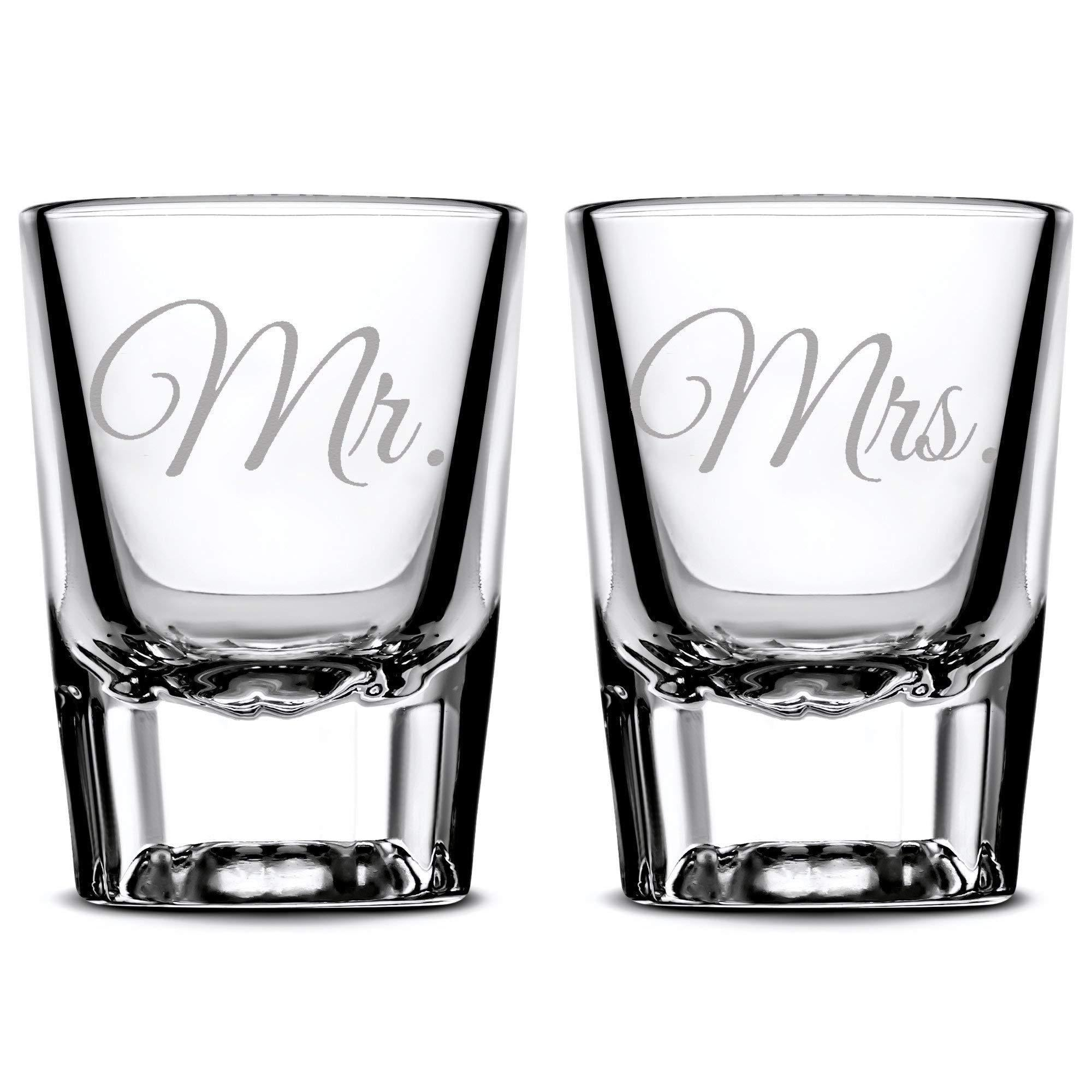 Premium Wedding Shot Glasses, Mr. and Mrs. Integrity Bottles