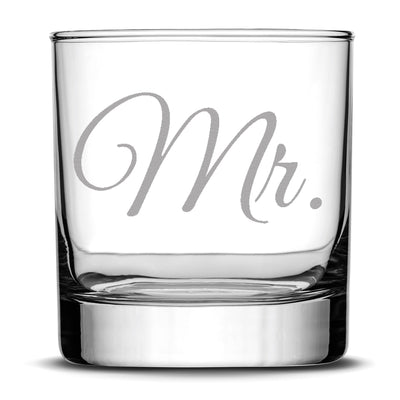 Premium Wedding Whiskey Glasses, Mr. and Mrs., Hand Etched 10oz Rocks Glasses, Made in USA, Highball Gifts, Set of 2, Sand Carved by Integrity Bottles