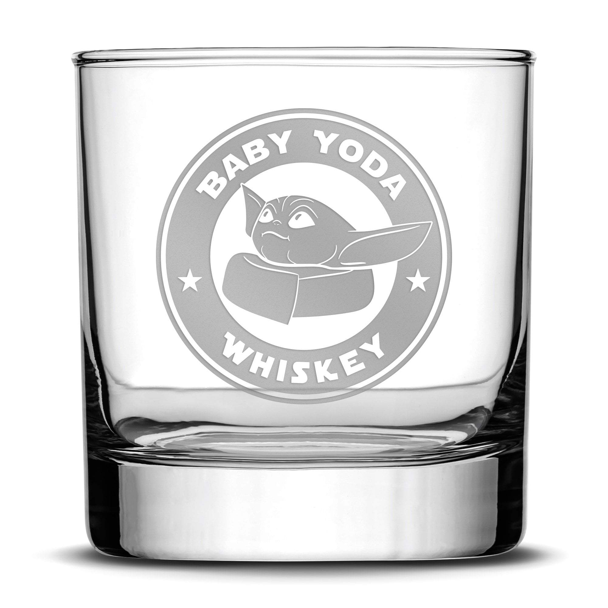 Premium Whiskey Glass, Mandalorian, Baby Yoda Whiskey, 11oz by Integrity Bottles
