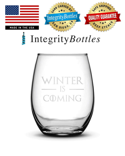 Premium Wine Glass, Game of Thrones, Winter is Coming, 15oz Integrity Bottles