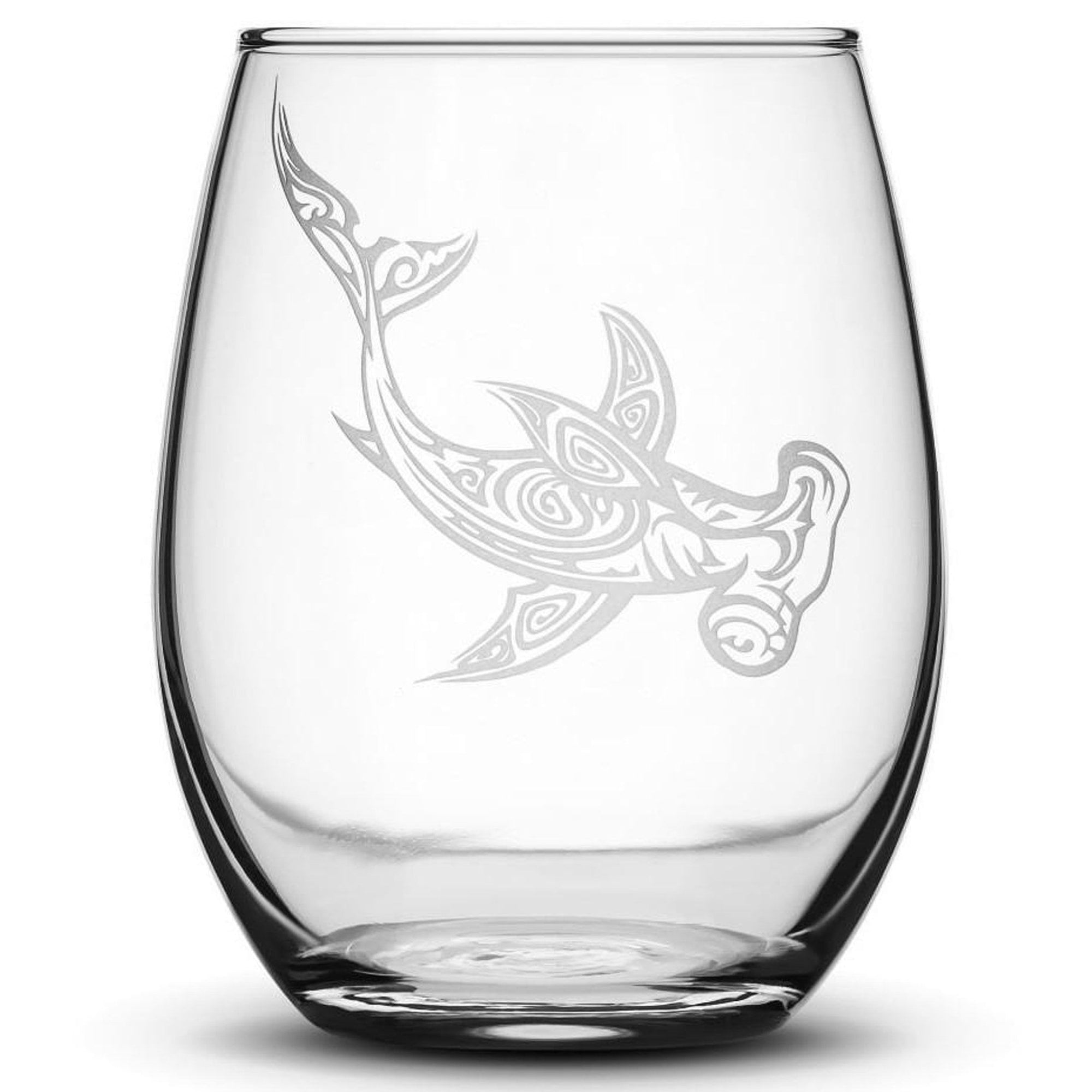 Premium Wine Glass, Hammerhead Shark Design, 16oz Integrity Bottles