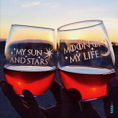 Premium Wine Glasses, Game of Thrones, Moon of My Life, My Sun and Stars, 15oz (Set of 2) Integrity Bottles