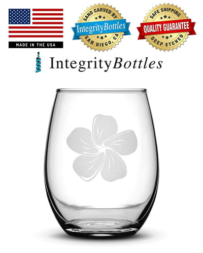 Premium Wine Glasses, Plumerias, 15oz (Set of 2) Integrity Bottles