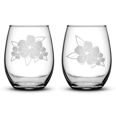 Premium Wine Glasses, Plumerias With Leaves, 15oz (Set of 2) Integrity Bottles