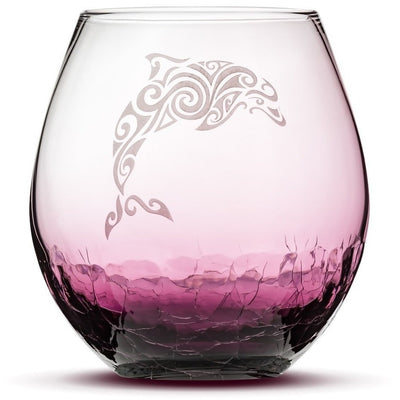 Purple / Dolphin Choose Your Crackle Wine Glass with Tribal Sea Animal Designs by Integrity Bottles