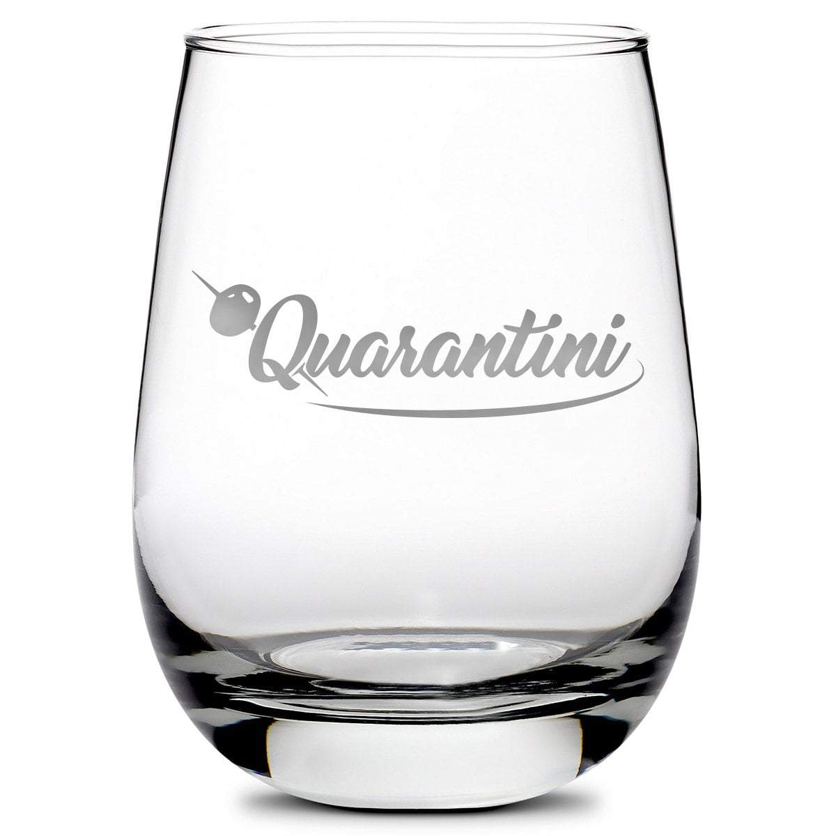 Quarantini Stemless Wine Glass, Made In The USA, 16oz by Integrity Bottles