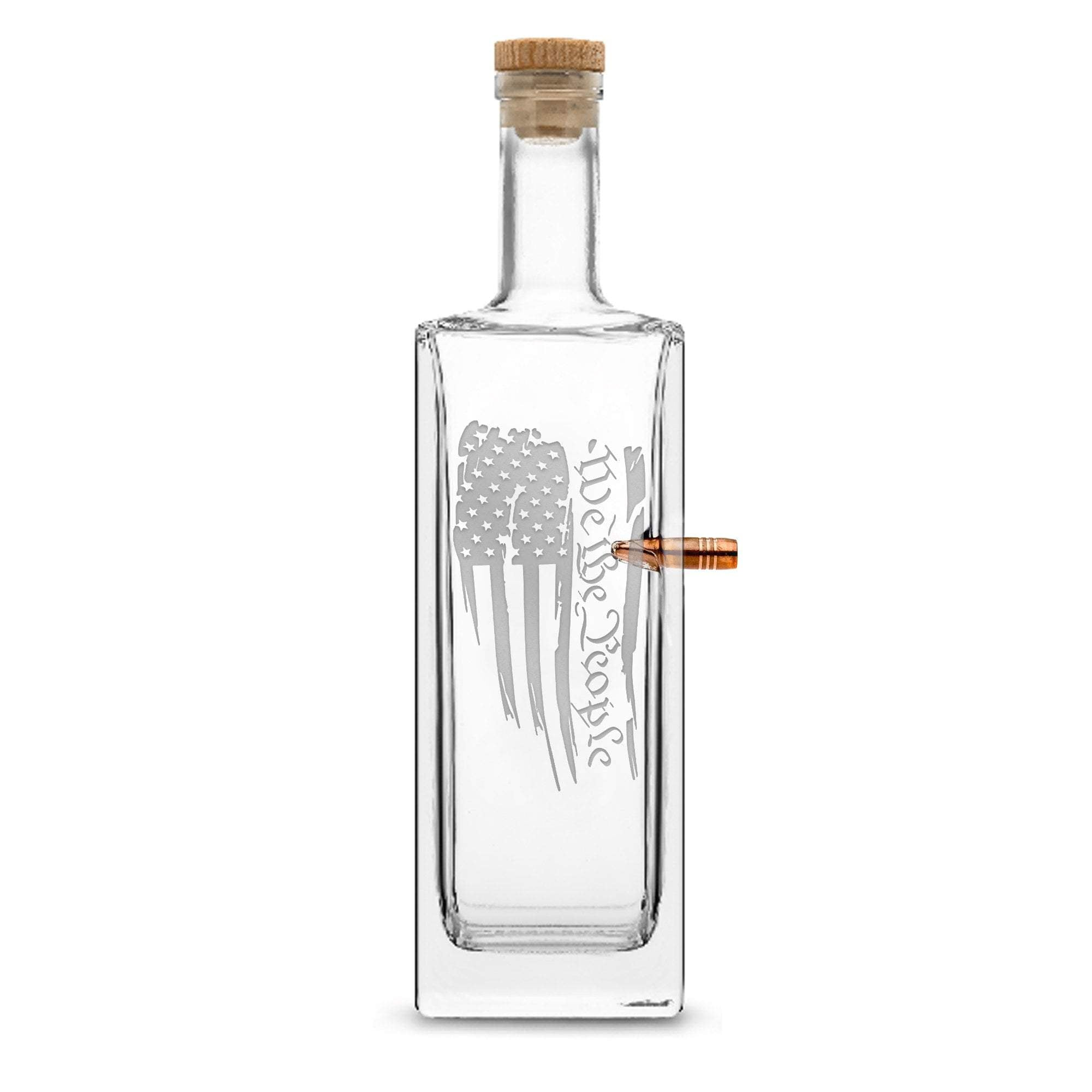 Sandblasted PREMIUM .50 CAL BMG BULLET BOTTLE, LIBERTY WHISKEY DECANTER CORK STOPPER, WE THE PEOPLE FLAG, 750ML by Integrity Bottles