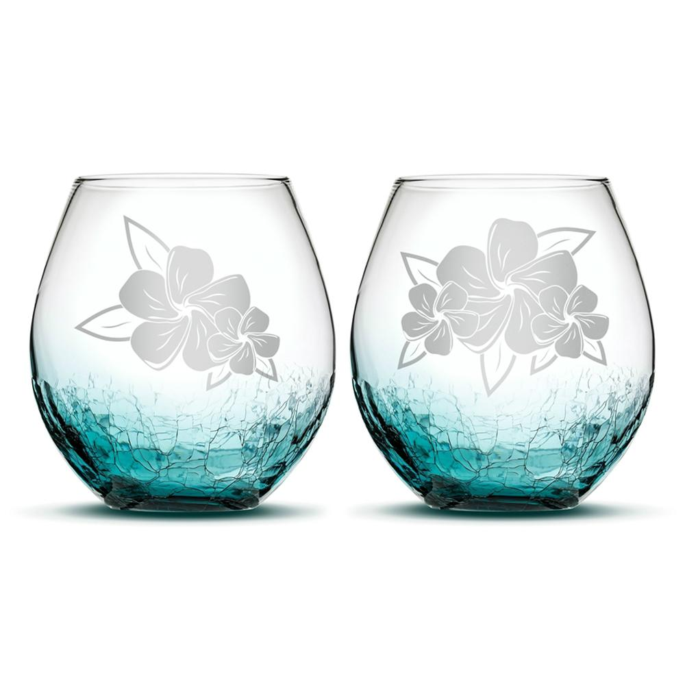 Set of 2, Crackle Teal Wine Glasses, Plumerias With Leaves by Integrity Bottles