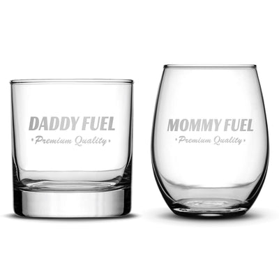 Set of 2 Whiskey/Wine Glasses for Mom and Dad, Deep Etched by Integrity Bottles